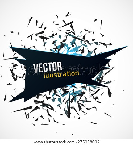 Abstract black banner with blue light explosion of black particles on white background. Vector illustration - stock vector