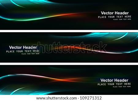 abstract black bright colorful header set vector illustration