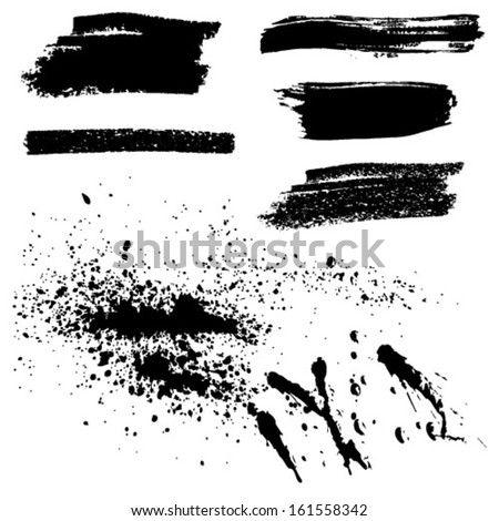 Abstract black brush strokes paint spots. Vector set. - stock vector