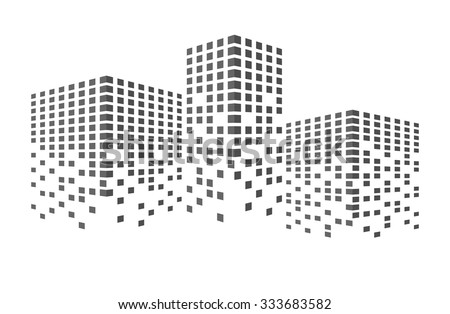 Abstract black building and city scene illustration. Urban cityscape. business or finances icon, creative simple graphic design. real estate template, vector art image, isolated on white background - stock vector