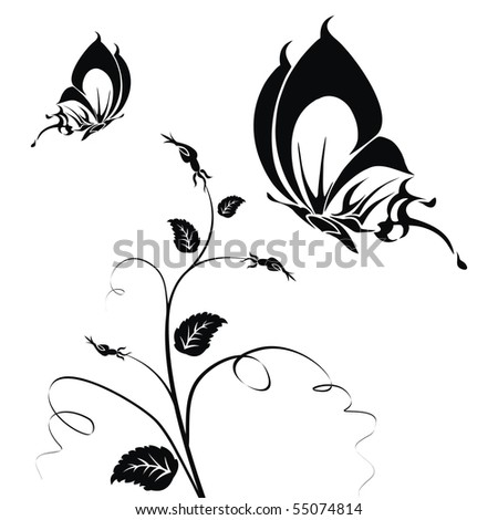 Abstract black butterflies on a white background. Vector illustration - stock vector