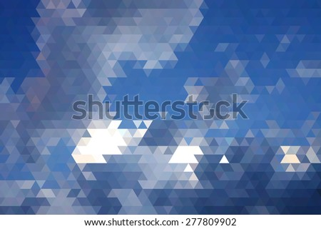 Abstract Black Cloud And White Clouds In Blue Sky Geometric Triangular Low Poly. Vector Illustration - stock vector