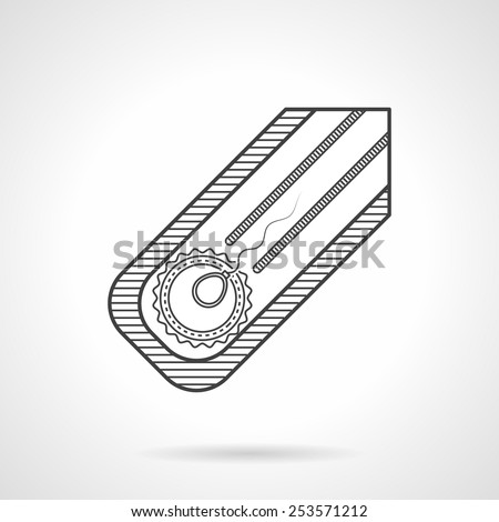 Abstract black flat line vector icon for fertilization in vitro on gray background. - stock vector
