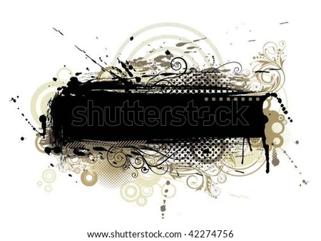 Abstract black grunge background,with spot, brush, spray, circle and floral elements. - stock vector