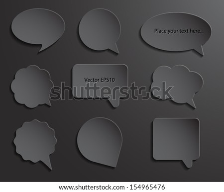 Abstract black paper speech bubbles. 3d design. Vector eps10.