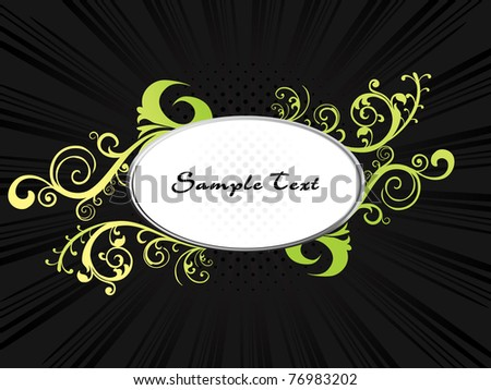 abstract black rays background with isolated floral decorated frame, illustration - stock vector