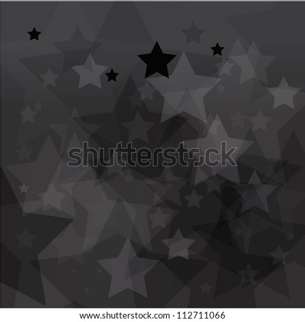 abstract black star bokeh background - stock vector