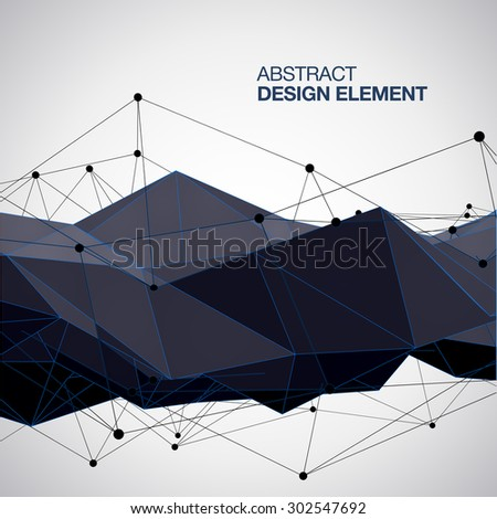 Abstract  black vector background, low poly style. - stock vector