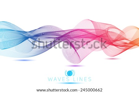 abstract blend waves colorful gradient light  lines bright vector - stock vector