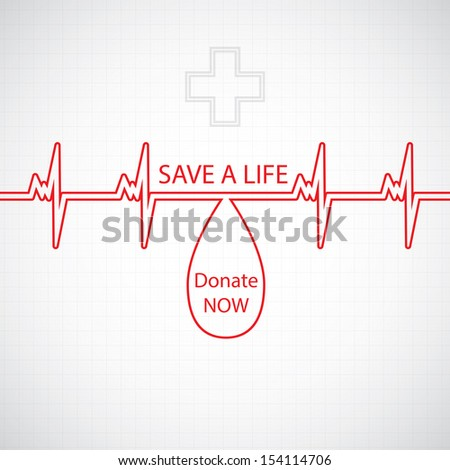 Abstract blood donor background creative heart beat illustration - stock vector