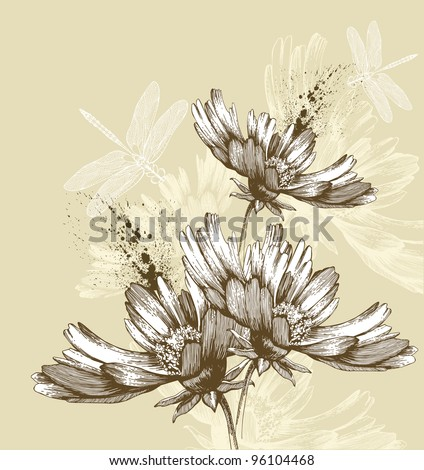 Abstract blooming flowers flying dragonflies, hand-drawing. Vector illustration. - stock vector