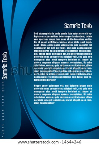 Abstract blue and black background with plenty of copy space - stock vector