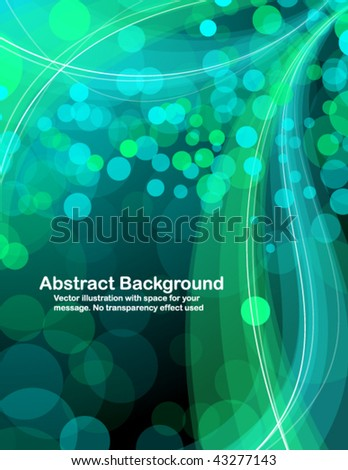 Abstract  blue and green  transparent waves and random circles. Vector illustration. - stock vector