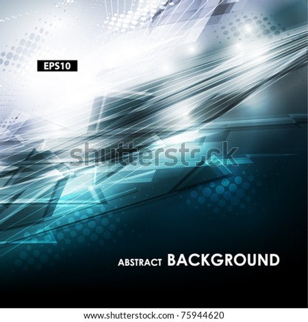 Abstract blue and grey tech card with lighting effect. Vector - stock vector