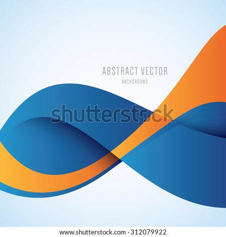 Abstract blue and orange wave modern vector background - stock vector