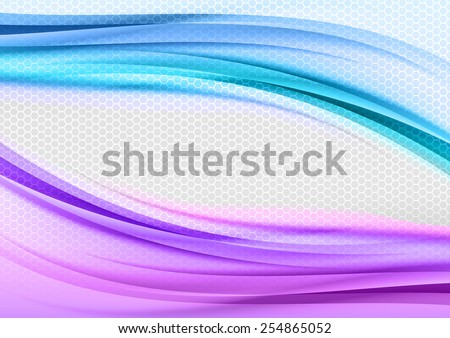 Abstract blue and purple background with grey hexagon.
