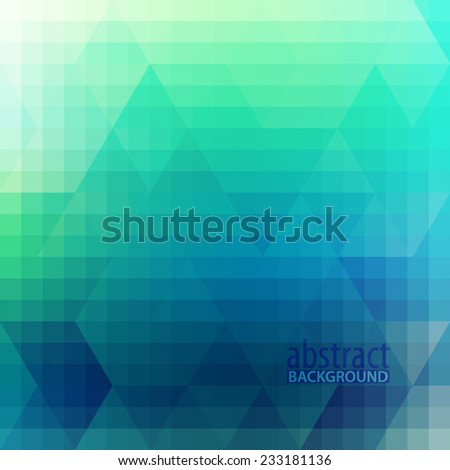 Abstract blue and turquoise geometric background with triangles. Vector - stock vector