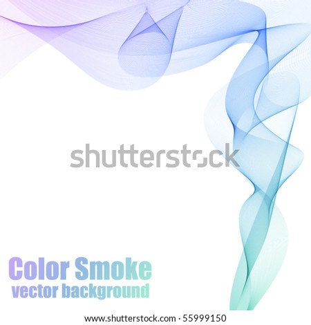 Abstract blue and violet vector smoke background with copy space. - stock vector