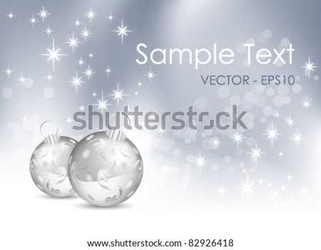 Abstract blue and white Christmas background with baubles - stock vector