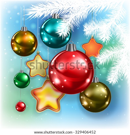 Abstract blue background with Christmas decorations and snowflakes - stock vector