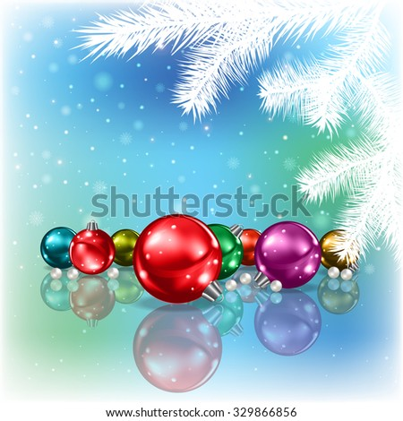 Abstract blue background with Christmas decorations and white tree - stock vector