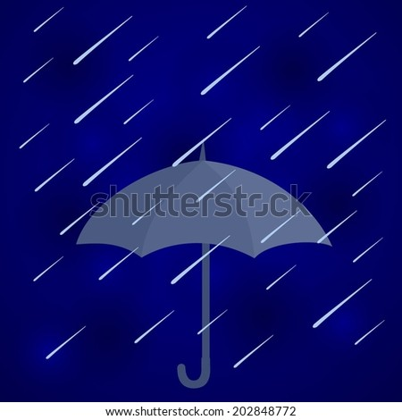 Abstract blue background with cloud, Conceptual image of an open gray umbrella suspended midair giving shelter from a strong downpour of rain. vector art image illustration pattern - stock vector
