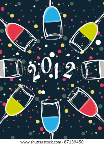 abstract blue background with colorful dots, champagne glass for 2012 happy new year - stock vector
