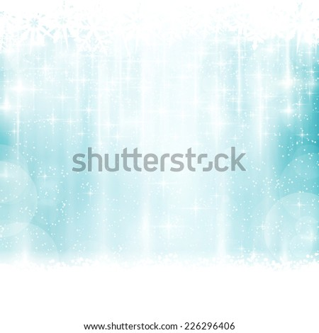 Abstract blue background with faintly visible vertical stripes, blurry lights, stars and snow flakes. Light effects give it a festive feeling  for any festive Christmas, winter design. - stock vector
