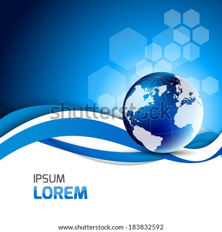 Abstract blue background with globe - stock vector