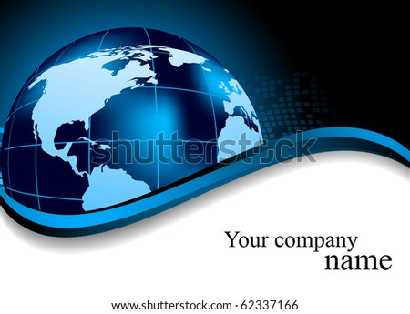 Abstract blue background with globe. Vector illustration