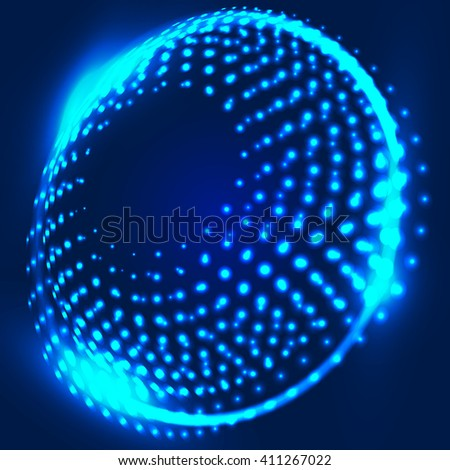 Abstract blue background with glowing spiral. Abstract background with luminous swirling backdrop. Intersection curves. Glowing circles. Design element in vector. - stock vector
