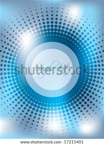 Abstract blue background with halftone - stock vector