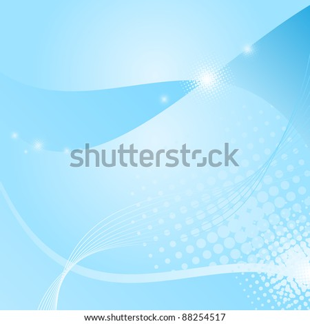 Abstract blue background with halftones - stock vector
