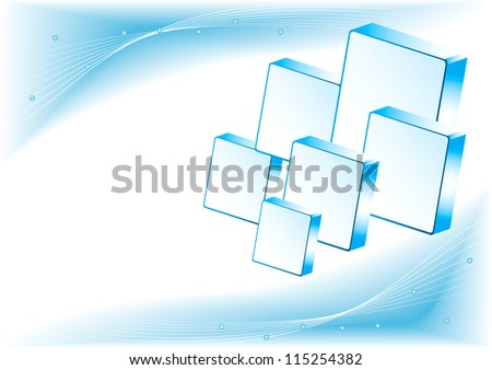 Abstract Blue Background with lines and 3D cubes