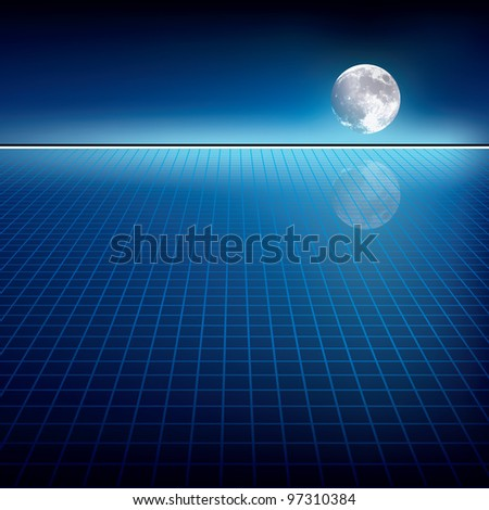 abstract blue background with moon and horizon - stock vector