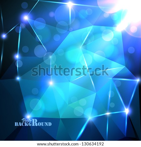 Abstract blue background with shine and bokeh - stock vector