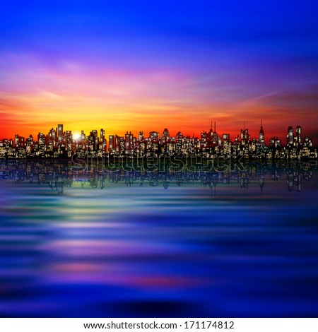 abstract blue background with silhouette of city and golden sunset - stock vector