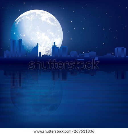 abstract blue background with silhouette of city and moon - stock vector