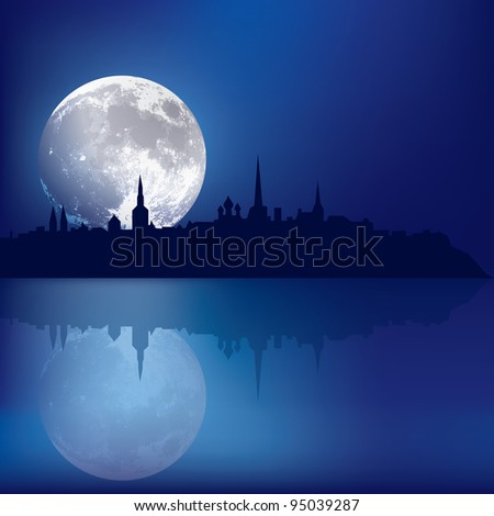 abstract blue background with silhouette of Tallinn and moon - stock vector