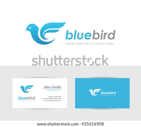 Abstract blue bird icon business card stock vector hd royalty free abstract blue bird icon with business card design template can be used for travel or reheart Image collections