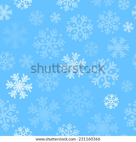 Abstract blue christmas seamless pattern background with snowflakes - stock vector