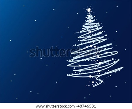Abstract blue Christmas tree - stock vector