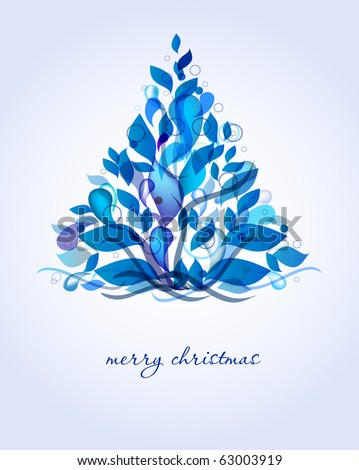 Abstract blue christmas tree from drops and leaves - stock vector