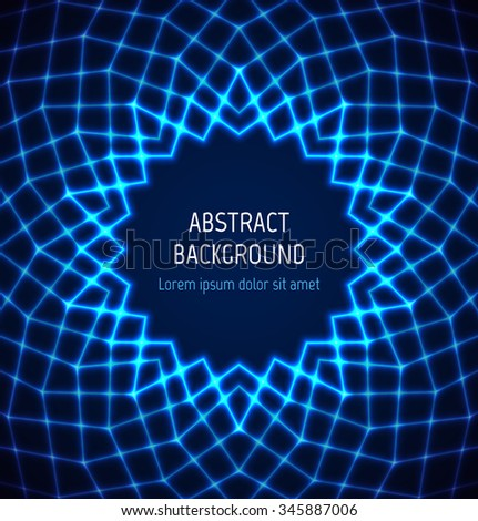 Abstract blue circle polygonal technology border background with light effects. Vector illustration - stock vector