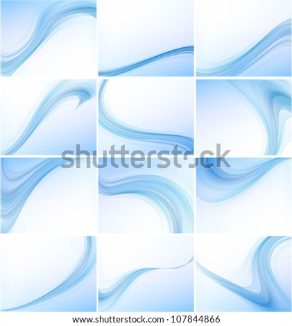 Abstract blue colorful business wave vector set design - stock vector