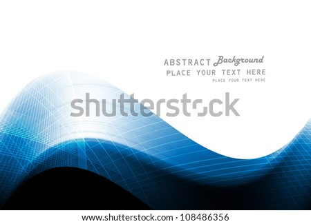 abstract blue colorful shiny wave vector whit background - stock vector