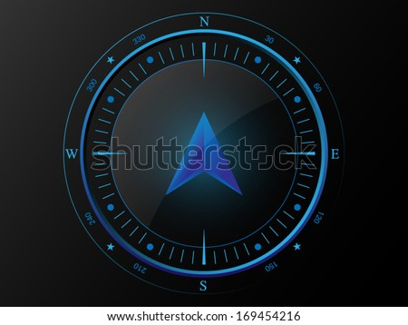 Abstract blue compass with 3 D arrow pointer in the middle, isolated on dark background - stock vector