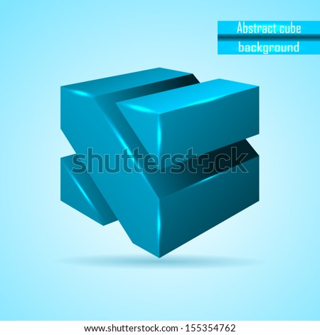 abstract blue cube vector - stock vector