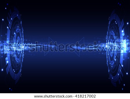 Abstract blue digital communication technology background. Vector illustration - stock vector