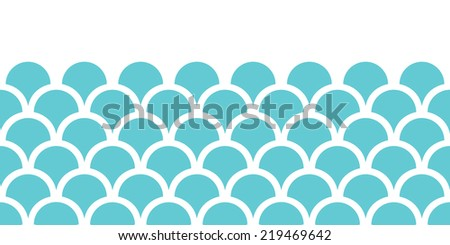 Abstract blue fishscale horizontal seamless pattern background - stock vector